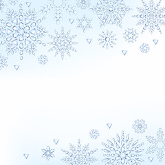 Light christmas new year winter snowflakes background.