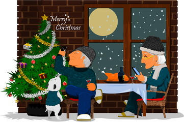 Christmas Background, Grandparents celebrate Christmas beside the window