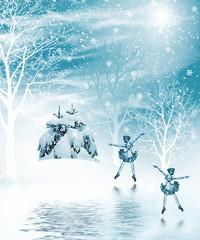 Winter forest. Winter landscape. dancing ballerina in a winter f