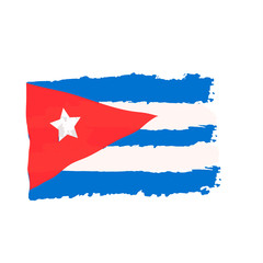 Cuban flag painted by brush hand paints. Art flag.