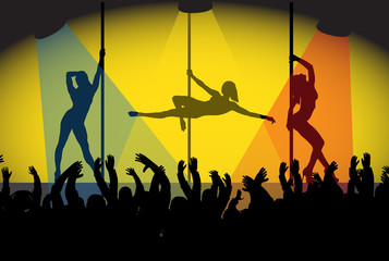Pole Dancing Girls And Crowd