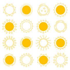 Set outline sun icons