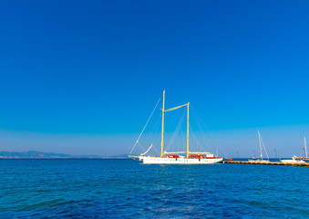 beautiful big old sailing boat docked at the port of Kos island in Greece