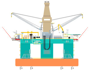 Drilling floating offshore platform for oil and gas from the bottom continental shelf on a white background. Vector illustration