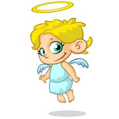 Vector illustration cute Christmas angel character