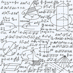 """Science vector seamless pattern with formulas, plots, equations, figures, mathematical calculations, """"handwritten on a copybook paper"""""""