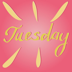 Vector text Tuesday in pink and yellow