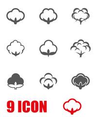 Vector grey cotton icon set. Cotton Icon Object, Cotton Icon Picture, Cotton Icon Image - stock vector