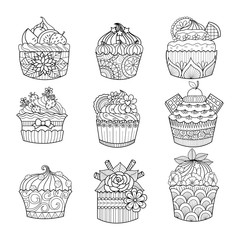 Hand drawn cupcakes for coloring book for adult