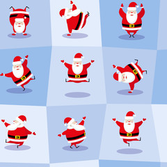 Vector seamless background dancing santa claus