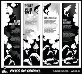 Vector banner. Underwater world.