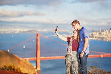 Romantic loving couple making selfie in San Francisco