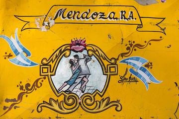 Vintage yellow tango sign in Mendoza, Argentina