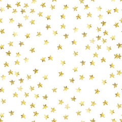 Golden stars confetti seamless background.