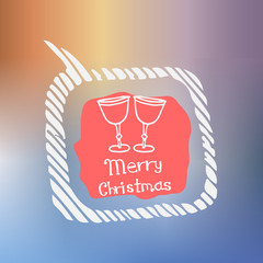 champagne white icon Doodle Christmas