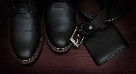 Belt and shoes. Business look.