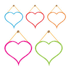 Vector doodle frames hanging  for text or photo.