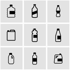 Vector black bottles icon set. Bottles Icon Object, Bottles Icon Picture, Bottles Icon Image - stock vector