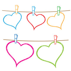Vector doodle frames for text or photo, hanging on clothesline.