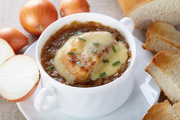 French cuisine. Onion soup served in a white tureen