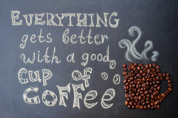everythink gets better with a good cup of coffee with coffee bea