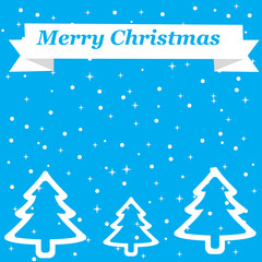 "Christmas background which depicts a Christmas tree with a wide white outline, falling snow, and the top is a white ribbon with the words ""Merry Christmas"""