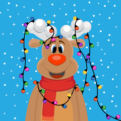 animated deer in a scarf. reindeer horns wound burning garland. in the background the snow falls