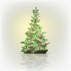 Christmas tree decorated with colored balls, vector isolated