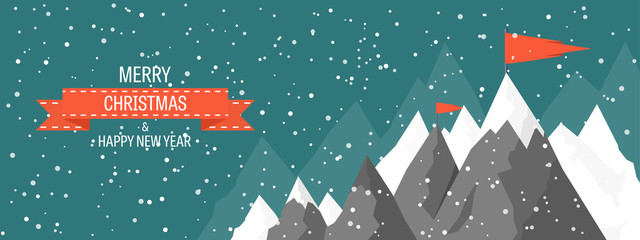 Vector illustration. Winter landscape. Mountaines with snow. Flat. Christmas, new year. Season