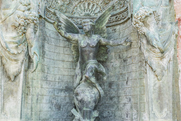bronze fountain with figures of angels in Marbella Andalucia Spa