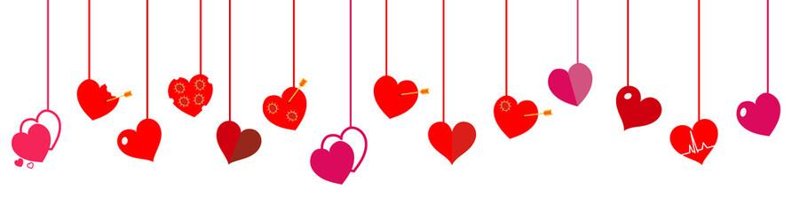 Hanging hearts. Flat design