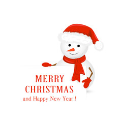 Snowman in red hat and Christmas greetings