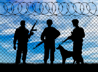 Silhouette of the military and the dog