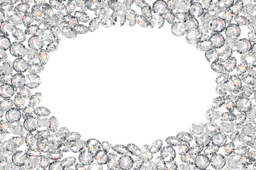 Luxury diamonds frame on white backgrounds