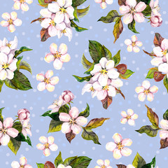 Seamless floral wallpaper with aquarell cherry tree flowers bloom on blue polka dots background