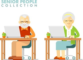 Social concept - old people using computer