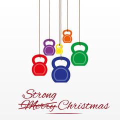 Christmas card with kettlebells
