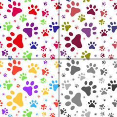 Set of seamless pattern with cats footprints