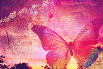 Pink butterfly old postcard
