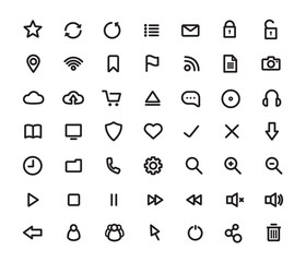 Digital multimedia thick line icons set