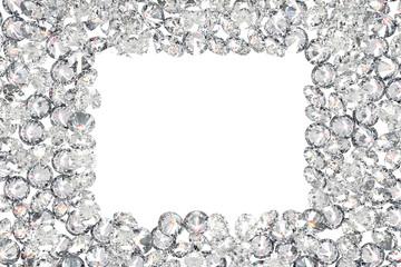 Luxury diamonds frame on white backgrounds
