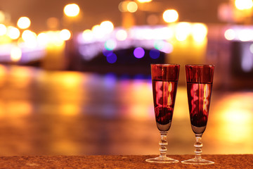Two glasses of champagne outdoors