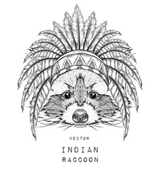 Photo sur Toile Croquis dessinés à la main des animaux Raccoon in the colored Indian roach. Indian feather headdress of eagle. Hand draw vector illustration