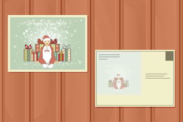 Holiday Postcard. New Year Background.