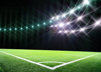 lights at night and big soccer stadium