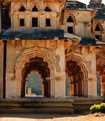 Fototapete - Ancient ruins of Lotus Temple. Lotus Mahal corridor. Royal Centre. Hampi, Karnataka, India.