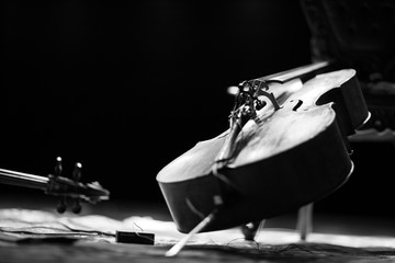 Angle view of a cello on stage