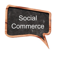 Social commerce word concept on speech bubbles from wood on white background
