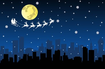 Santa Flying with sledge on Night City