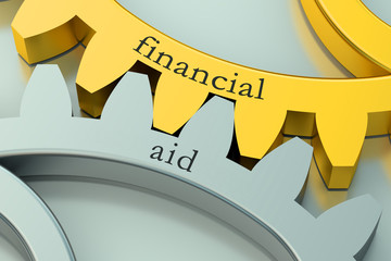 Financial Aid concept on the gearwheels